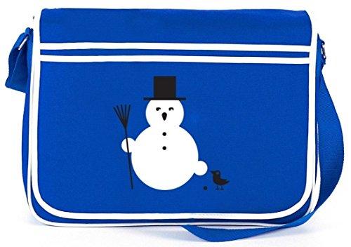 SNOWMAN, Winter Weihnachten Retro Messenger Bag Kuriertasche Umhängetasche Royal Blau