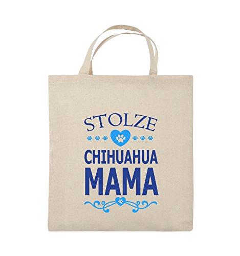Buste Comiche - Orgogliosa Chihuahua Mamma - Cuore - Borsa In Juta - Manico Corto - 38x42cm - Colore: Nero / Bianco-verde Neon Naturale / Blu Reale-azzurro