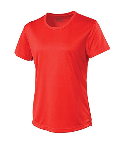 LADIES GYM T-SHIRT RUNNING BREATHABLE FITNESS GYM SPORTS TRAINING EXERCISE TOP (Red, 10)
