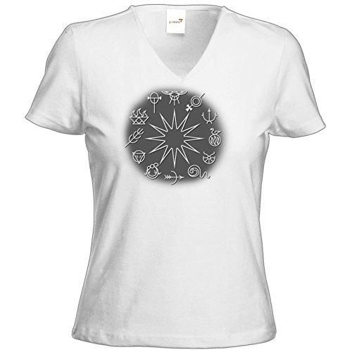 getshirts - Das Schwarze Auge - T-Shirt Damen V-Neck - Götter - Symbole - Zwölfgötterkreis Weiß