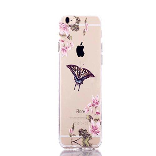 iPhone 5/5S/se case, Jiejiewyd antiurto flessibile morbido silicone gomma TPU + PC bumper cover per iPhone 5/5S/se–arancione farfalla/fiore TCH11