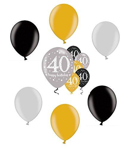 40.ster Geburtstag. Komplettes Party Set zum 40 Geburtstag Gold Schwarz Silber plus Glitter, 41 Teile komplette Dekoration zum 40 Happy Birthday - 9