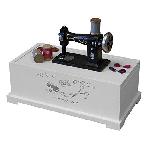 Nähkästchen Nähkasten Nähbox Nähzubehör Box Weiß 22x17x12cm aufschiebbarer Deckel Nähkorb für Nähutensilien