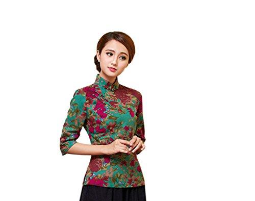 ACVIP Damen Retro Verbessern Stehtkragen Blumen Muster Chinesische Art Cheongsam Bluse Farbe4