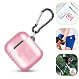 Metal Airpods Case Full Protective Skin Cover Compatible with Apple Airpods 1&2 Wireless Charging Case Accessories Kits (For Airpods 1&2 Standard Version, pink)