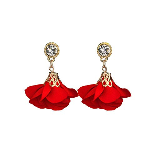 Schmuck Ohrringe,Jewelry Bohemia Classic Drop Earrings for Women Boucle d'oreille Crystal Red Rose Flower Earrings For Women Jewelry Cute Bijoux
