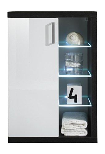 Trendteam Badezimmer Hängeschrank, Holzwerkstoff, Korpus Sardegna Rauchsilber Dekor, Front weiß, 58 x 85 x 36 cm