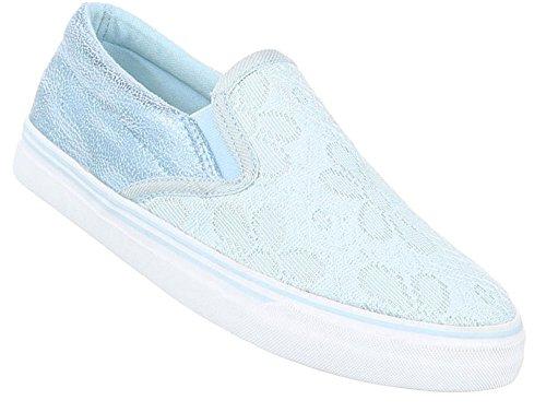 Damen Halbschuhe Schuhe Slipper Loafer Mokassins Flats Slip On Schwarz Beige Blau Pink Weiß 36 37 38 39 40 41 Hellblau
