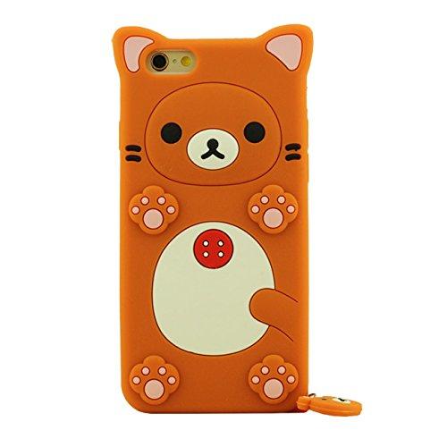 Apple Schutzhülle für iPhone 6S Plus / 6 Plus 5.5 inch Hülle Pink, Tier Cartoon Stil Original Design Niedlich 3D Bär Slikon Gel Weich Case + Silikon Halter orange