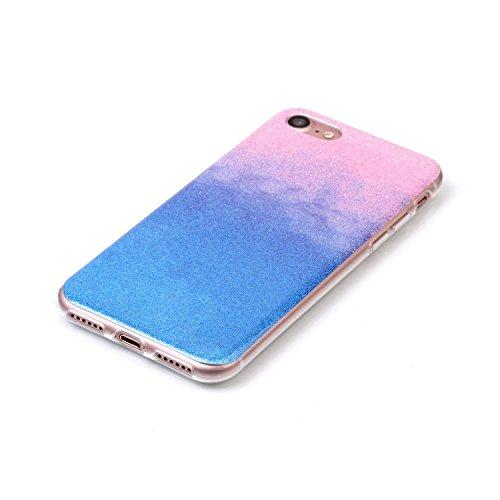 iPhone 7 Hülle Weiches Silikon Glitzer Schutzhülle Tasche Case,Hochwertig Leicht Gummi Schutz Hoch Handyhüllen Schale Etui,Herzzer Modisch Luxus Silikon Bunt Hülle [Farbverlauf Gradient Farbe] Regenbo Rosa und Blau