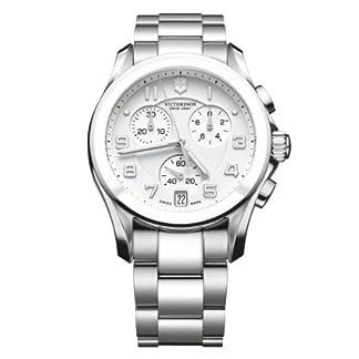 Victorinox Swiss Army Classic Chrono Classic 241538 – Reloj cronógrafo de cuarzo para hombre, correa de acero inoxidable color plateado (cronómetro, agujas luminiscentes, cifras luminiscentes)