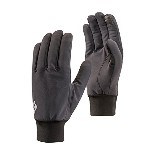 Black Diamond Lightweight Softshell Handschuhe / Touchscreen geeigneter, wasserabweisender & warmer Fingerhandschuh für milde Temperaturen / Unisex, Smoke, Größe: L 100% Polyester Diamond