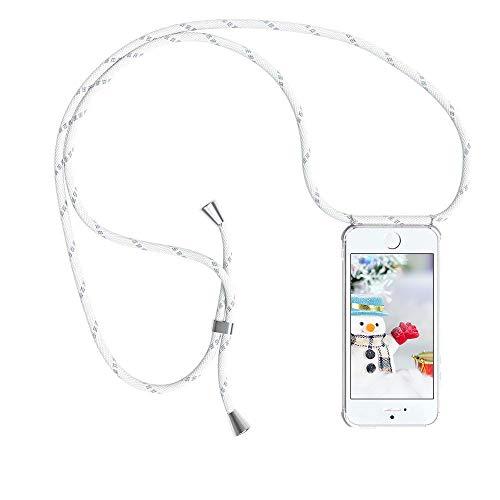 YuhooTech Handykette Kompatibel mit iPhone 5 / 5S / SE, Smartphone Necklace Hülle mit Band - Handyhülle mit Kordel Umhängenband - Schnur mit Case zum umhängen in Weiß