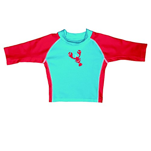 iplay-mod-3qtr-sleeve-rashguard-aqua-red-lobster-size-s-0-6-mois-sun-protection-50-