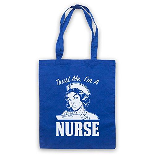 Trust Me I'm A Nurse Funny Work Slogan Umhangetaschen Blau