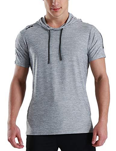 Echinodon Herren T-Shirt mit Kapuze Sport und Freizeit Schnelltrockend Atmungsaktiv Fitness Training Shirt Grün Asien 3XL