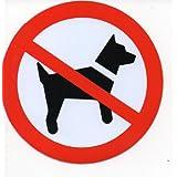 Interdit - canine - 10 cm de diamètre autocollant Autocollants