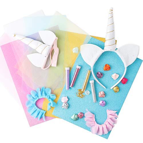 (BEYUMI Unicorn Craft Kit, 2pcs DIY Glitter Unicorn Headbands Crafts Set with Different Handmade Art Accessories-Creative Kit for Girls)