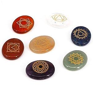 Piedras siete chakras grabadas naturales