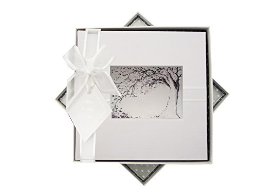 WHITE COTTON CARDS Fotoalbum offen Tree Design, Medium, Stoff, Weiß, 23 x 23 x 5 cm