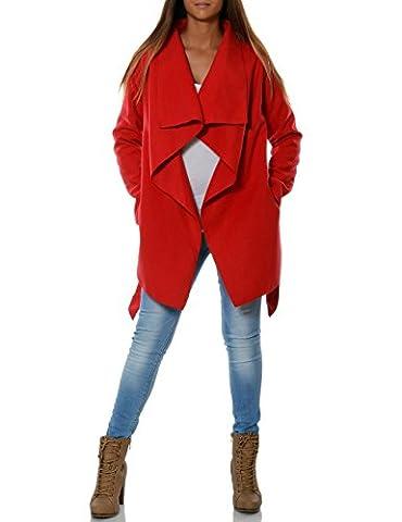 Damen Mantel Hüftlang Cardigan mit Taillengürtel No 15717, Farbe:Rot, Größe:M / 38