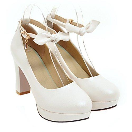YE Damen Süß Knöchelriemchen Blockabsatz High Heels Plateau Pumps mit Schleife und Schnalle Schuhe Weiß