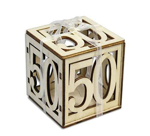 Vetrineinrete® scatoline portaconfetti 24 pezzi per compleanno anniversario 18 40 50 anni in legno levigato con nastro bomboniera segnaposto scatola confetti 305348 (50 anni)