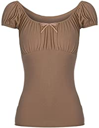 Fashion Star Womens Boho Ruched Off Shoulder Ladies Bow Tie Knot Gypsy Tshirt Vest Top