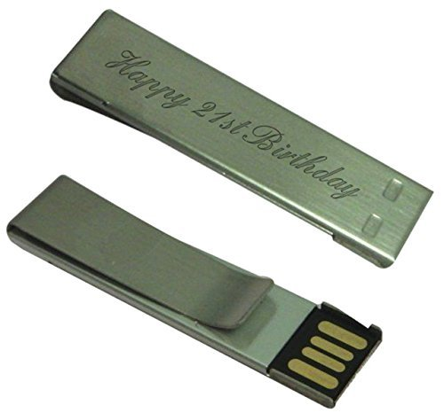 g Graviert dünn klemme USB 8GB memory stick in schwarz samt geschenkbeutel - n10 (21st Geburtstag Zubehör)