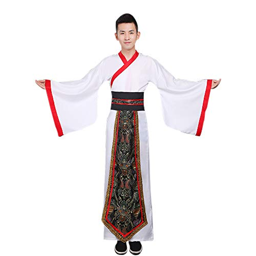 DAZISEN Herren Hanfu - Chinesischen Stil Altertümlich Traditionelle Kleidung Tang Anzug Minister Cosplay Performances Kostüm, Weiß/L (Bilder Von Verschiedenen Traditionellen Kostüm)