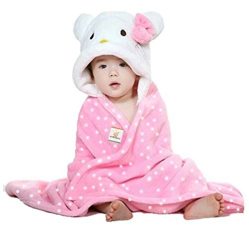 BRANDONN Baby Boy's And Girl's Catty Flannel Hooded Blanket (Pink,...
