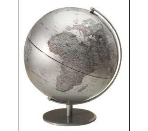 SIGN OFFICE - Globo terráqueo de geografía política (sin luz, 30 cm de diámetro, base y meridiano central metálicos), color plateado
