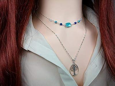 Collier arbre de vie - Pendentif ovale - Argent 925 - Cadeau pour elle