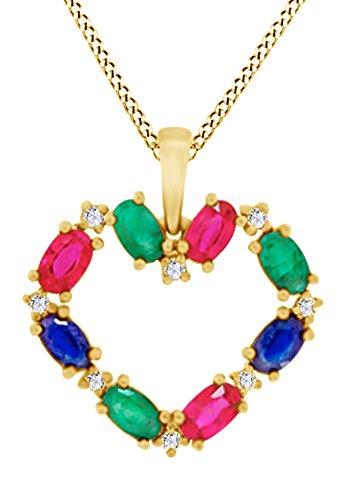 AFFY Herren Damen Unisex Kinder -  Gold 9 Karat (375)  Gelbgold (10 Karat) Ovalschliff      (Blauen Saphir-gold-halskette)