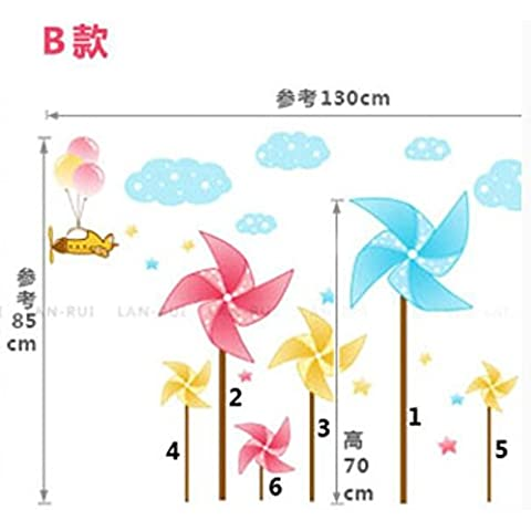 Non tossico impermeabile di protezione ambientale può essere rimosso e fissare al muro il mulino a vento di carta Fantasia B (130*85cm)