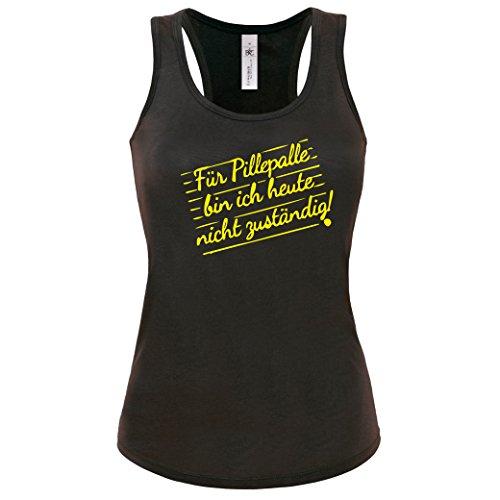 lustiges Shirt -Tank Top Für Pillepalle bin ich heute nicht zuständig! Lustige Büro Sprüche Damen Tanktop SCHWARZ-NEONGELB