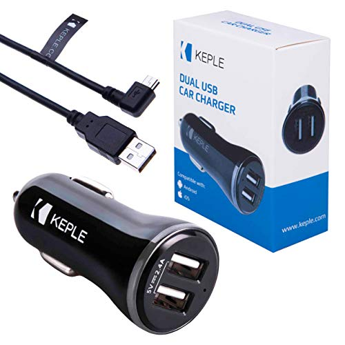 Keple Auto Ladegerät Tomtom Start 25 M/XL Model 4et03GPS Fahrzeug Sat NAV Navigationssystem | Dual Port USB 2.4 A 12v + 3ft Mini USB Rechter Winkel Datentransfer Ladekabel