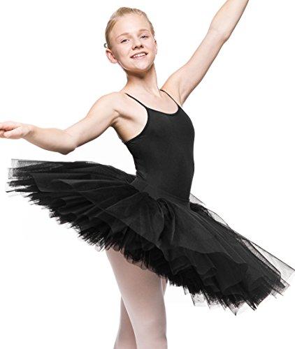 Arabesque Mädchen klassisches Tutu (Ballettkostüm) Ballett Tutu Rock 6 -lagiger Tüll Odetta (Schwarz, 134/152)