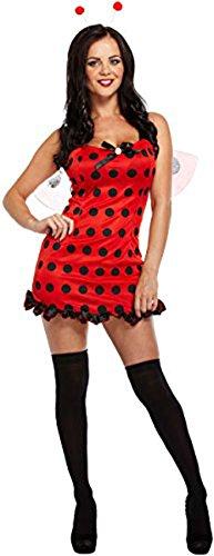 Bug Outfit (Damen Erwachsene Sexy Deluxe Damen Marienkäfer Lady Bug Rot & Schwarz Fancy Kleid Outfit Gr. Einheitsgröße, Lady Bug)