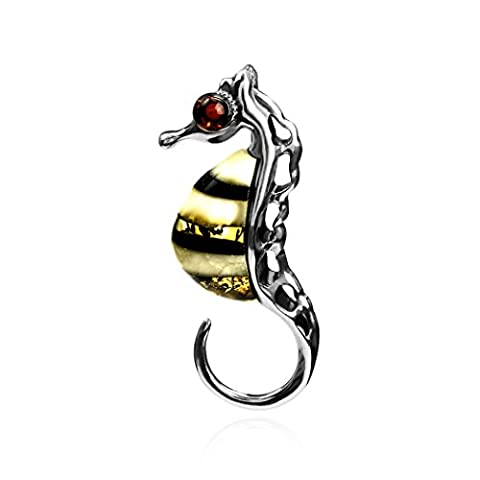 Amber Sterling Silver Seahorse Slider Pendant