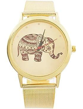 MJartoria Damen Vintage Armbanduhr Elefant Quarz Uhr Modeschmuck Milanaiseband Mode Design mit Strass Gold Farbe