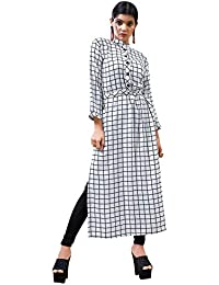 Rose Petals Fully Stitched Indo Western Reyon Check Kurti in Different Designer Cuts and Style with unique neck detailing (CHEp5002), check dress for women western, checks kurtis for women latest