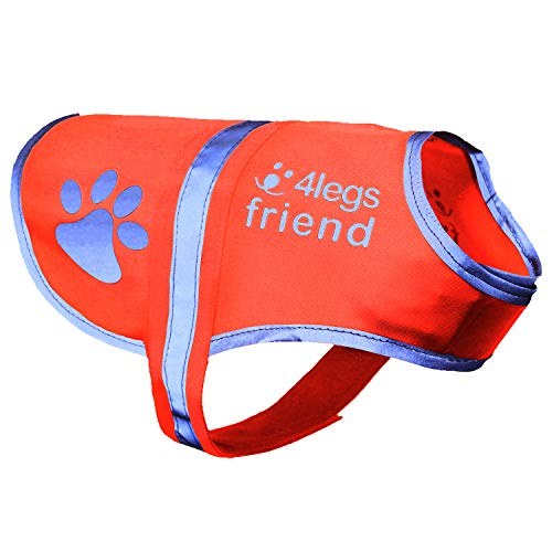 Dog Safety Reflective Vest 5 Sizes to fit dogs 10 lbs -130 lbs : High Visibility for Outdoor Activity Day and Night, Keep Your Dog Visible, Safe From Cars & Hunting Accidents   Blaze Orange Medium
