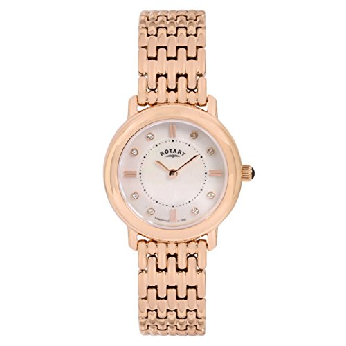 Rotary Women's Quartz Watch with White Dial Analogue Display and Rose Gold Plated Stainless Steel Bracelet LB00347/41