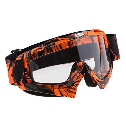 B Blesiya Occhiali Moto Maschera Lente a Specchio Protezione UV Sole Universale - Arancione-Bianco