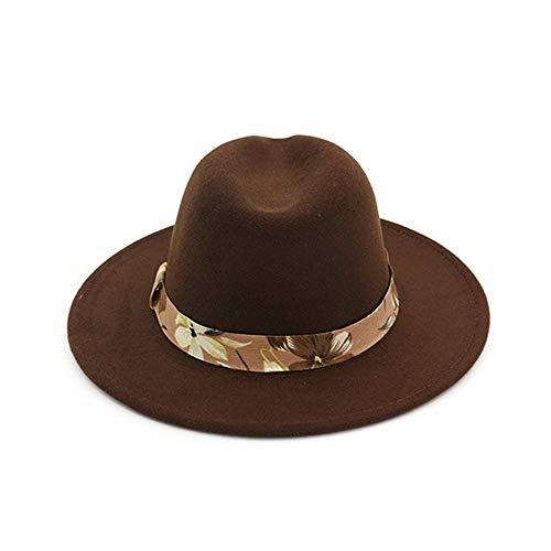 YUXINXIN Fedoras Hüte for Frauen Breiter Krempe Filzhut Damen Tweed Armee Grün Jazz Cap Weiblichen Leoparden Winter Elegante Pork Pie Hut (Farbe : Kaffee, Größe : 56-58) - Tweed-trilby