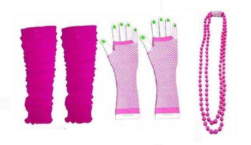 RB Fashions Clothing Neon Retro 1980er Jahre Legwarmer Fischnetz Handschuhe und Perlen Set Faschingskostüm Schwarz Blau Türkis Grün Orange Pink Lila Rot Weiß Gelb