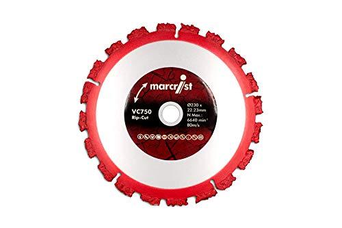 Marcrist VC750 230 RipCut Scheibe Art. 2630.0230.22 Hartemtallscheibe Rip Cut passend für Winkelschleifer 230mm Bohrung 22,2 rot metallic