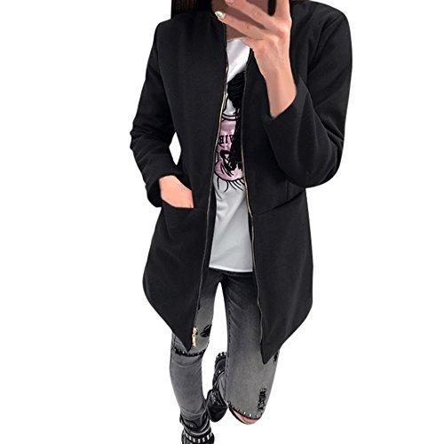 WINWINTOM Oversize Jacke Windbreaker Mantel Frühling Herbst Winter Stilvoll Bequem Outwear, Womens Loose Casual Reißverschluss Langarm-Taschenmantel