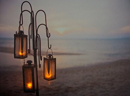 LED Bild Leuchtbild 3 Laternen Wandbild Strand Meer